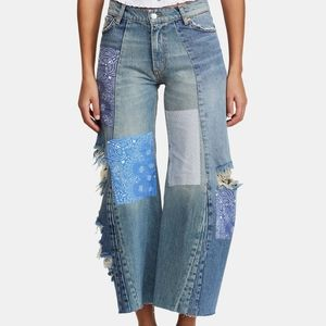 Free people patch work jeans